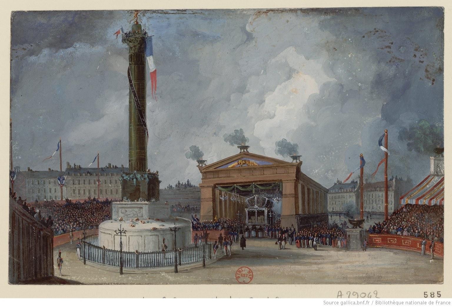 Transfert des reliques des martyrs de 1830 à la Bastille. gallica.bnf.fr/BnF
