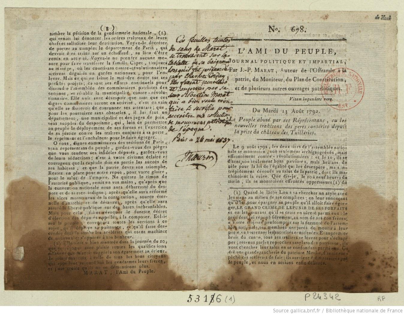 Exemplaire de L'Ami du peuple taché du sang de Marat. gallica.bnf.fr/BnF