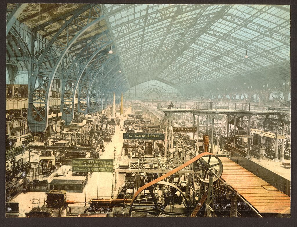 Interior view of the Galérie des machines, Exposition universelle de 1889. Source: Library of Congress